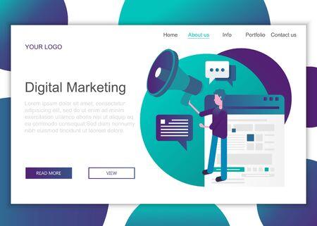 Modern flat design concept of web page design for website and mobile website. Landing page template of digital marketing. Flat vector illustration Ilustração