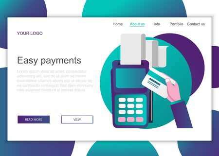 Modern flat design concept of web page design for website and mobile website. Landing page template of easy payments. Flat vector illustration