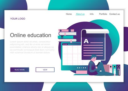 Modern flat design concept of web page design for website and mobile website. Landing page template of on line education. Flat vector illustration