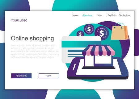 Modern flat design concept of web page design for website and mobile website. Landing page template of on line shopping. Flat vector illustration