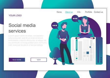 Modern flat design concept of web page design for website and mobile website. Landing page template of social media services. Flat vector illustration 일러스트
