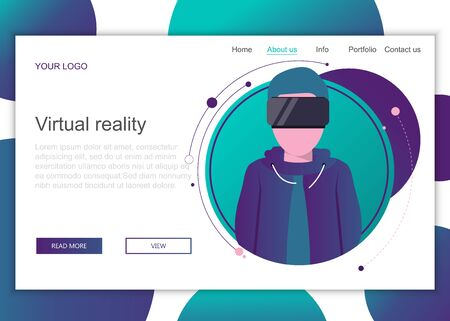 Modern flat design concept of web page design for website and mobile website. Landing page template of virtual reality. Flat vector illustration