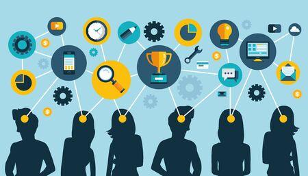 Mind map team. Teamwork concept design and network of communication. Flat vector illustration