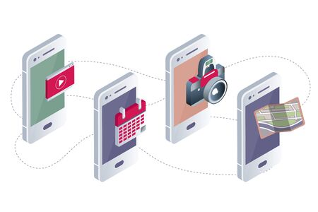 Mobile applications concept. Hands with phones. Flat vector illustration.