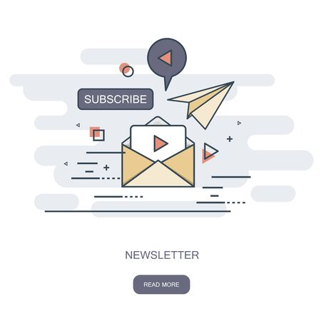 Flat design concept of regularly distributed news publication via e-mail with some topics of interest to its subscribers. Flat vector illustration. Newsletter concept