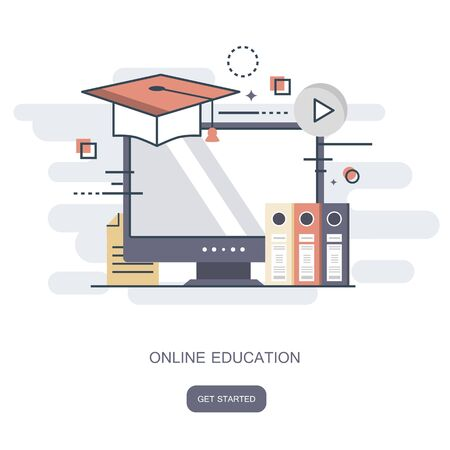 On line education, training, on line tutorial, e-learning concept. Flat vector illustration.
