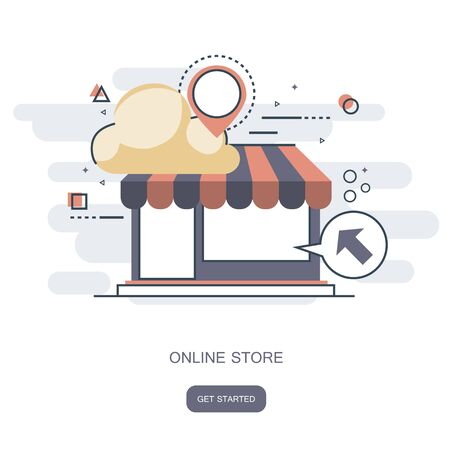 On line store concept. Icon shop online, business icon flat design. App Icons, Web Ideas Network Page, Virtual Shopping, Vector 일러스트
