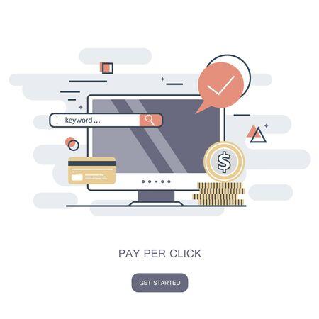 Pay per click icon. Shop on line, e commerce concept. Flat vector illustration