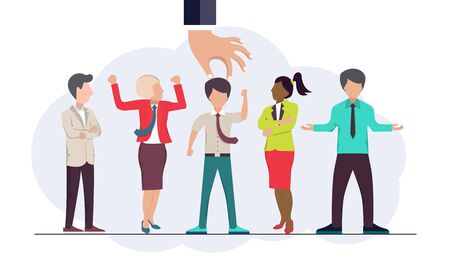 Find the right person for the job concept. Hiring and recruiting new employees. Flat vector design Ilustrace