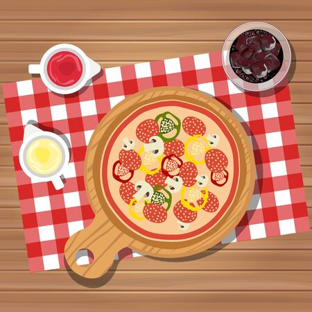 Pizza on table with bottles of ketchup and mayonnaise served with glass of juice with ice. Served dinner on table, top view. Flat vector illustration Ilustrace