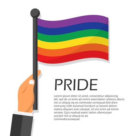 Vector illustration for pride month event celebration. Hand holding rainbow flag. 일러스트