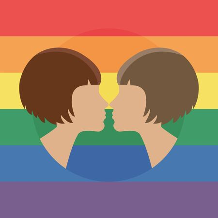 Vector illustration for pride month event celebration. Two women kissing