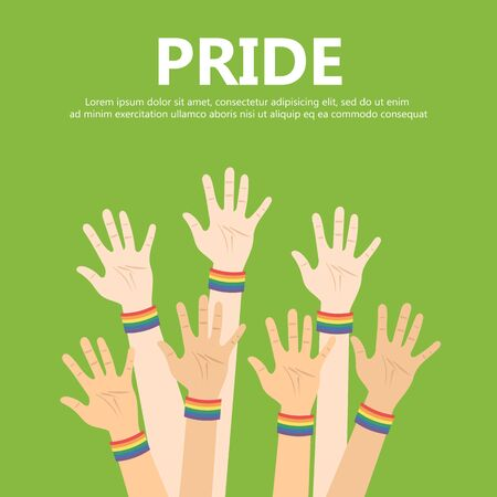 Vector illustration for pride month event celebration. Many hands up with rainbow bracelets.