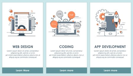 Flat design programming and software app screens. Modern user interface UX, UI screen template for mobile smart phone or responsive web site. Vector Illustration