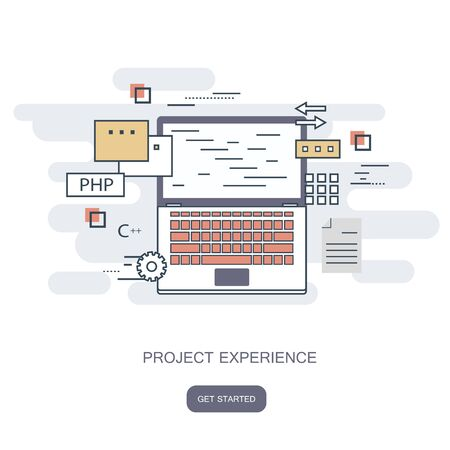 Project experience concept. Flat style, thin line art design. Set of application development, web site coding, information and mobile technologies vector icons and elements. Flat vector illustration