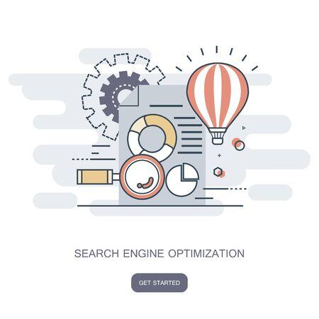 Search engine optimization. Flat vector illustration. Ilustração