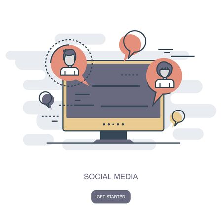 Social network and chatting icon. Global communication, e mailing, web calls. Lap top with speech bubbles. Flat vector illustration