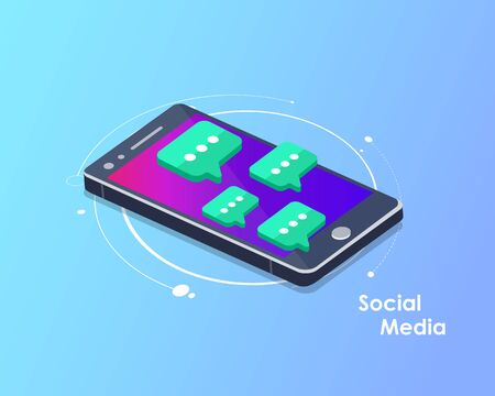 Social network and chatting vector. Global communication, e mailing, web calls. Smart phone with speech bubbles. Flat vector illustration