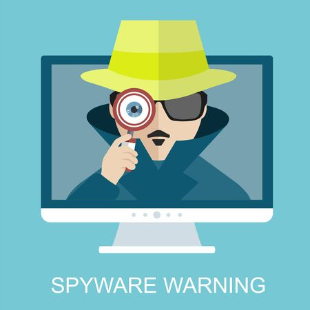 Internet security and spyware warning with detective. Hacking phishing attack.  Computer attack and virus infection. Vector flat icons and illustrations
