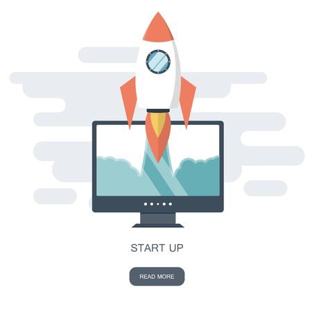 Start up business concept for mobile app development or other disruptive digital business ideas. Cartoon rocket launching from smart phone tablet. Flat vector illustration Ilustrace