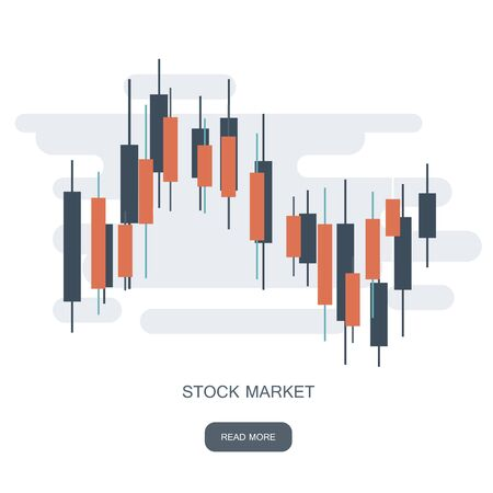 Stock chart logotype. Currencies trading diagram. Forex success concept logo. Exchange market graph. Bullish and bearish price trend concept. Flat vector illustration