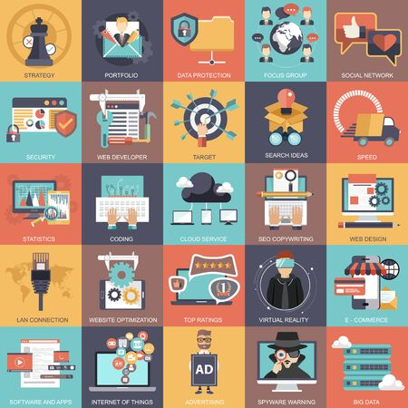 Colección de conjunto de iconos de negocios, tecnología, administración y finanzas. Ilustración vectorial plana