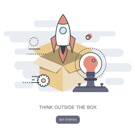 Think outside the box business concept. Flat vector illustration
