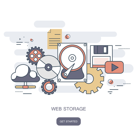 Web storage concept. Cloud computing concept. Work desk with computer technology, cell phones and tablets. Flat vector illustration