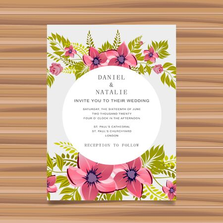 Wedding card invitation with flower decoration. Flat vector illustration 일러스트