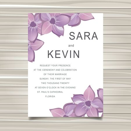 Wedding card invitation with flower decoration. Flat vector illustration Ilustrace