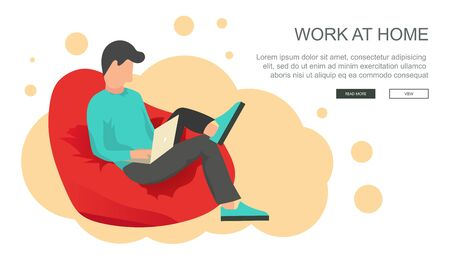 Work at home concept. Freelance worker sitting on lazy bag with lap top. Workplace concept. Flat vector illustration.