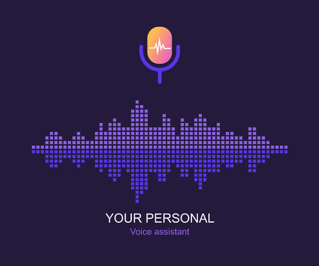Personal assistant and voice recognition concept. Microphone button with bright voice and sound imitation lines. Flat vector illustration of sound symbol intelligent technologies.