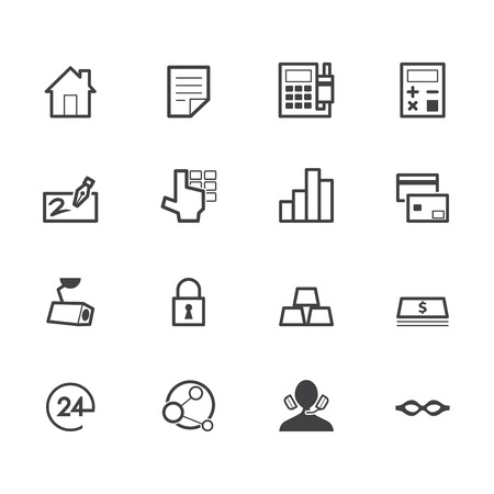 �back ground�: bank black icon set on white back ground Illustration