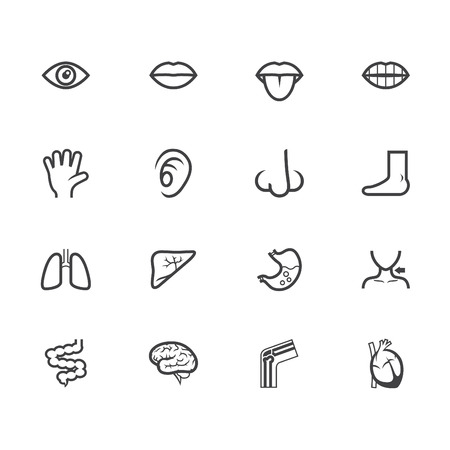 ears: body black icon set on white  Illustration
