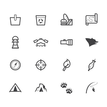 camp black icon set on white  Vector