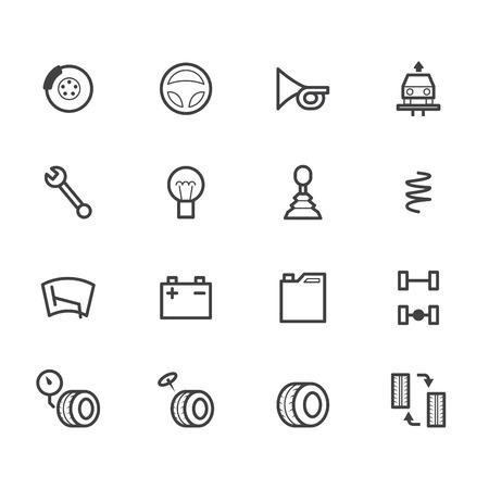 disk break: car check black icon set on white