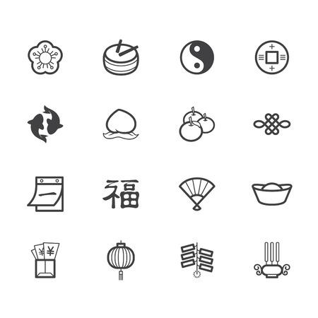 ecoration: chinese new year black icon set on white background