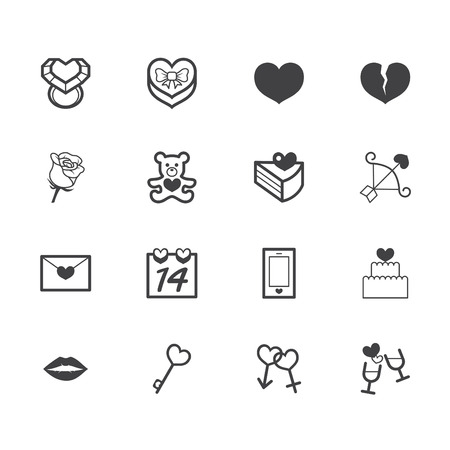 valentine day black icon set on white background Vector