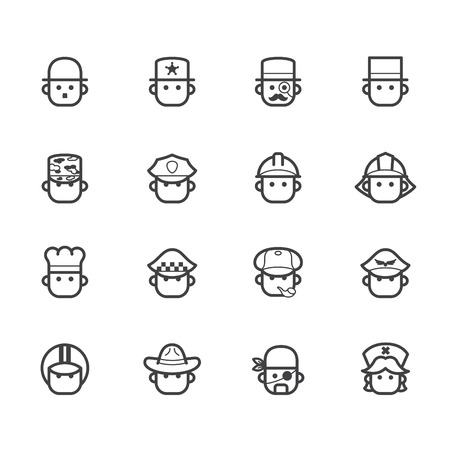 occupation black icon set 1 on white  Vector