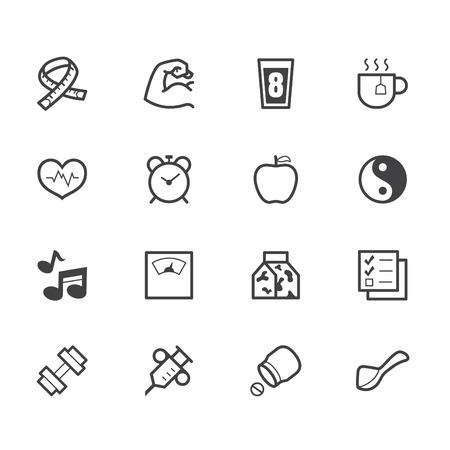 box size: healthy element vector black icon set on white