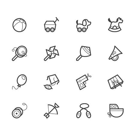 Baby-Spielzeug Vektor schwarzen Symbol auf weißem eingestellt