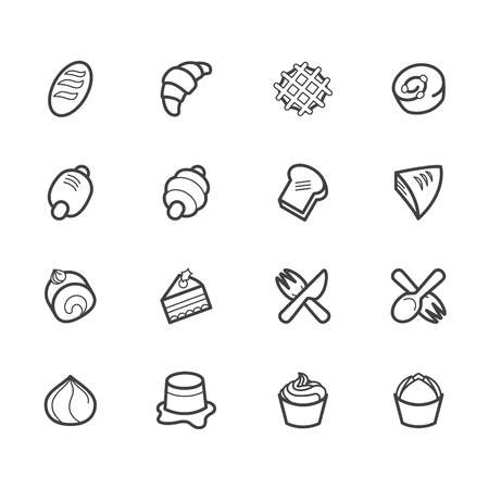 sanwich: bakery popular vector icon set on white background