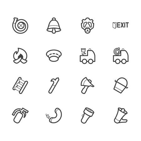 burn out: brandweerman element vector icon set op een witte achtergrond Stock Illustratie