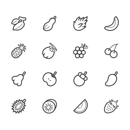 fruit du dragon: fruits vecteur ic�ne ensemble sur fond blanc