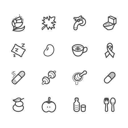 Healthy element black icon set 2 on white background