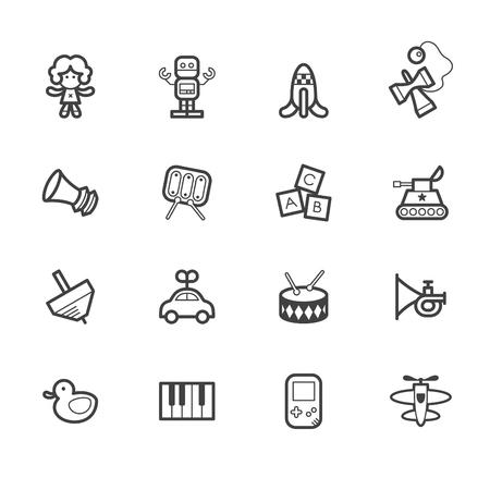 catoon: Baby toys black icon set on white background