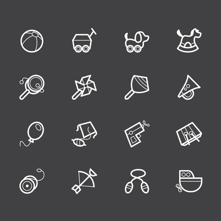 catoon: Baby toys white icon set on black background Illustration