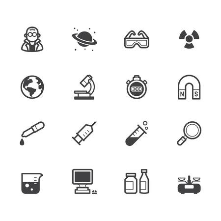 Science element zwart pictogram op een witte achtergrond. Vector Illustratie