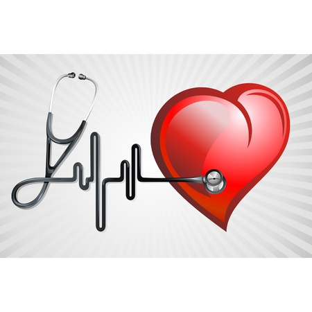 doctor examine: Stethoscope and heart Illustration