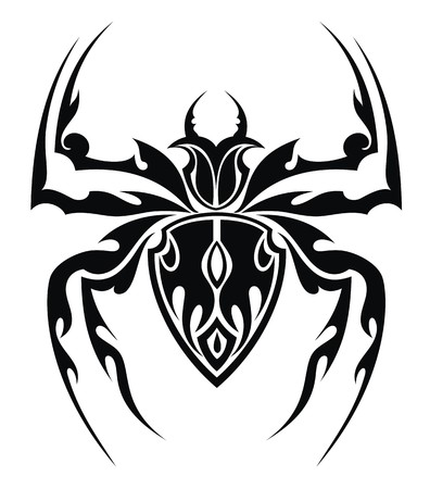 black and white spiders: Spider Tattoo Illustration